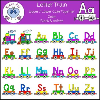 Alphabet Letter Train (Upper & Lower Case combined) Clip Art