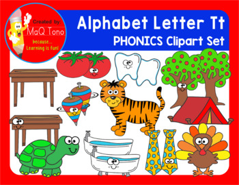 Alphabet Letter Tt Phonics Clipart Set