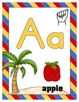 Alphabet Letter Wall Decor - By the Beach - ASL Letter Beginning Sound Picture