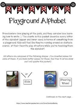 Alphabet Letter Writing Activity using playground shapes