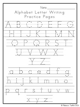 Alphabet Letter Writing Practice Pages