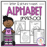 """Alphabet Letter and Picture Mazes """"No Prep"""""""