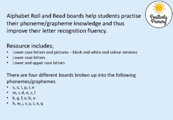 Alphabet Letter and Sound Roll and Read - Letters, Pictures - Color and B & W