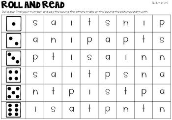 Alphabet Letter Sound Roll and Read - Letters, Pictures - Color + B&W