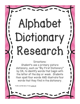 Alphabet Letter of the Week Dictionary Research