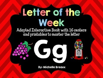 Alphabet Letter of the Week--Letter G Adapted book & More {Pre K, K, 1, Autism}