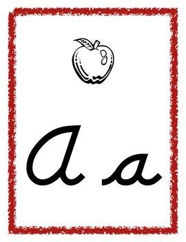 Alphabet Letter posters in D'Nealian Cursive font