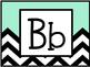 Alphabet Letters (Black, White, and Aqua Chevron)