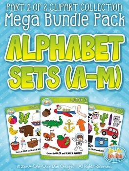 Alphabet Letters A-M Clipart Mega Bundle Pack — Includes 2