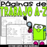 Alphabet Worksheets A-Z (Back to School) SPANISH