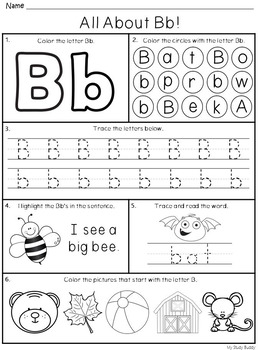 Alphabet Letters A-Z (Kindergarten Alphabet Worksheets) by My Study ...