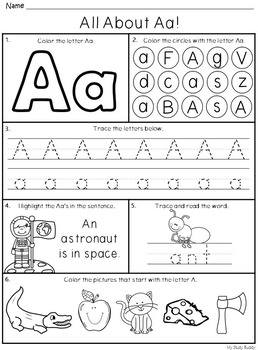 Alphabet Letters A-Z (Kindergarten Alphabet Worksheets, Back to School)