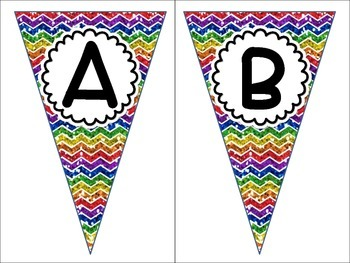 Alphabet Letters A-Z Pennant Banners Word Wall Labels Rainbow Chevron Glitter