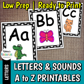 Alphabet Letters A to Z with Beginning Sound Pictures