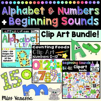Beginning Sounds Numbers And Alphabet Clip Art Set