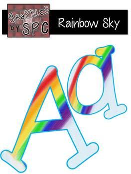 Alphabet Letters Aa-Zz Rainbow Sky {Graphics by SPC} with FREEBIE DigitalPaper