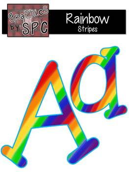 Alphabet Letters Aa-Zz Rainbow Stripes {Graphics by SPC}