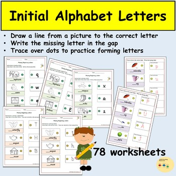 Alphabet Letters Activities, Match Pictures to Letters, Trace Over Dots