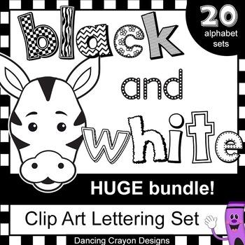 Alphabet Letters Clip Art - HUGE Black and White Alphabet Clipart BUNDLE