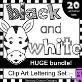 Alphabet Letters Clip Art - HUGE Black and White Alphabet