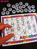 Alphabet Letters Bottle Cap Centers (Missing Letters Activities)