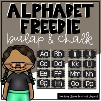 Burlap and Chalk Alphabet Word Wall Headers Freebie