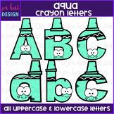 Alphabet Letters Clip Art - Aqua Crayon Letters {jen hart