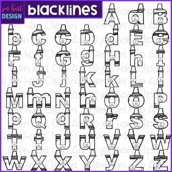 Alphabet Letters Clip Art - Black Crayon Letters {jen hart Clip Art}