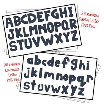 Alphabet Letters Clip Art – Black, White and Gray BUNDLE!
