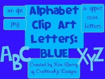 Alphabet Letters Clip Art:  Blue