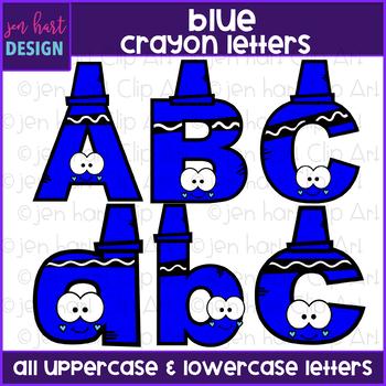 Alphabet Letters Clip Art - Blue Crayon Letters {jen hart Clip Art}