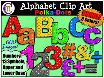 Bulletin Board Letters Clip Art Bold Polka-dots BUNDLE