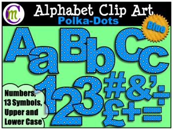 Alphabet Letters Clip Art Bold Polka-dots Blue