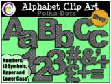 Alphabet Letters Clip Art Bold Polka-dots Gray