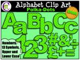 Alphabet Letters Clip Art Bold Polka-dots Green