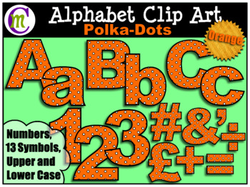 Alphabet Letters Clip Art Bold Polka-dots Orange