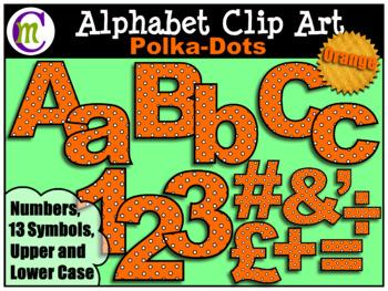 Alphabet Letters Clip Art Bold Polka-dots Orange
