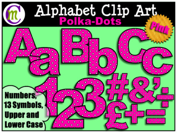 Alphabet Letters Clip Art Bold Polka-dots Pink