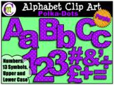 Alphabet Letters Clip Art Bold Polka-dots Purple
