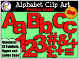 Alphabet Letters Clip Art Bold Polka-dots Red