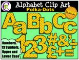 Alphabet Letters Clip Art Bold Polka-dots Yellow