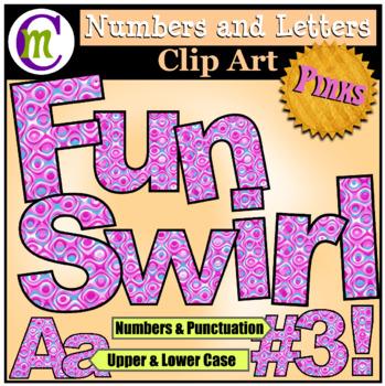 Alphabet Letters Clip Art Fun Swirl Pinks