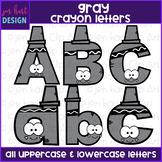 Alphabet Letters Clip Art - Gray Crayon Letters {jen hart