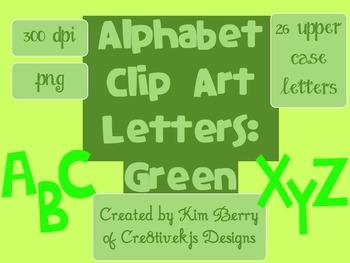 Alphabet Letters Clip Art:  Green