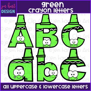Alphabet Letters Clip Art - Green Crayon Letters {jen hart Clip Art)