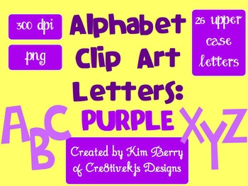 Alphabet Letters Clip Art:  Purple