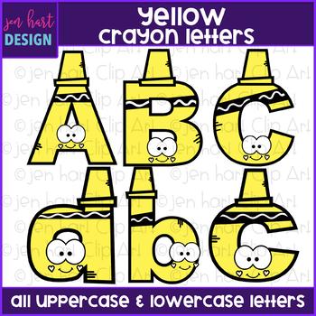alphabet letters clip art yellow crayon letters jen hart clip art rh teacherspayteachers com