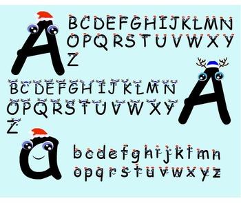 Alphabet, Letters Clip Art smile kids font teacher graphic Christmas-018-