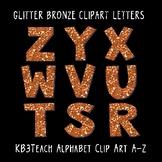 Alphabet Letters Clipart: Glitter Bronze (Uppercase A-Z)