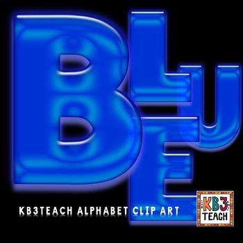 Alphabet Letters Clipart: Neon Glow Blue (Uppercase A-Z)